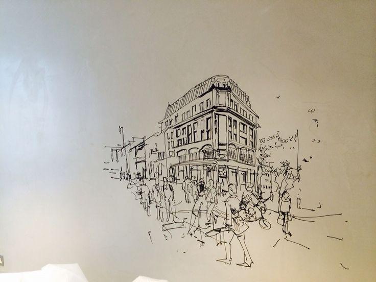 Marker pen art over polished plaster