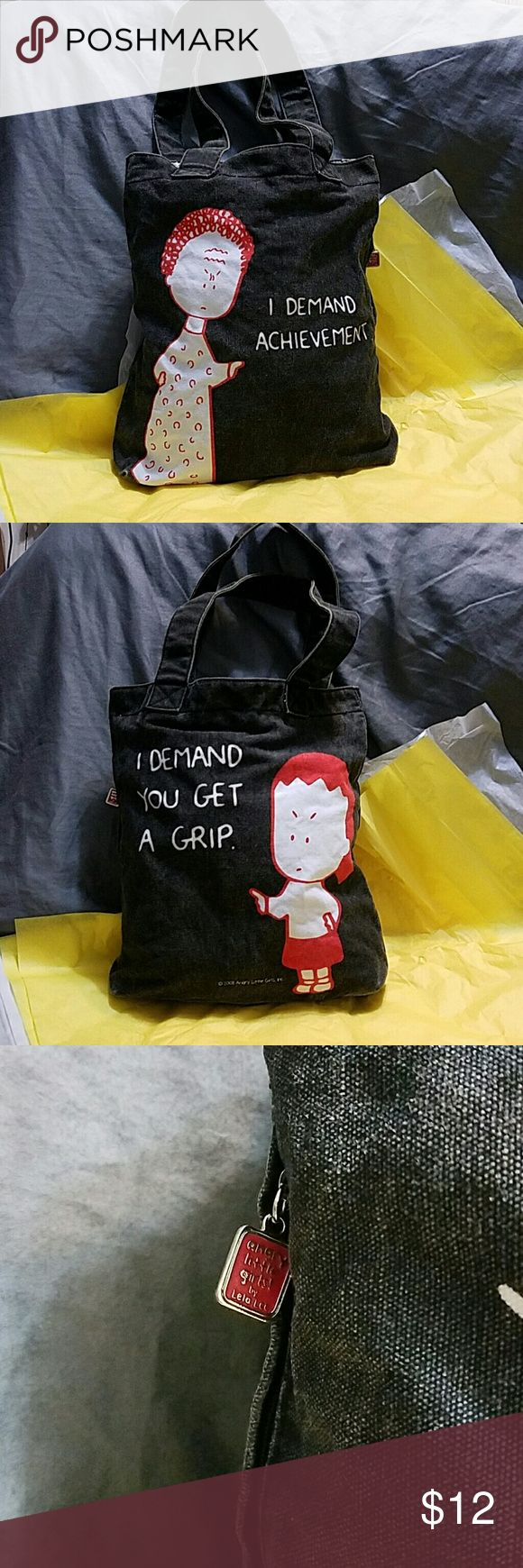 Angry Little Girls Tote Bag Super cute Angry Little Girls Tote bag, inside zipper pocket, 2 little pouches inside, 1 hidden zippered pocket on the side. 1 spot with a slight stain inside (pic) Gently used. 13 inches tall, 12 inches wide. Bags Totes