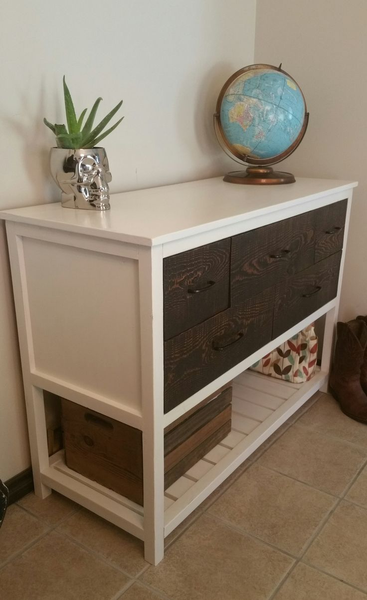 Reclaimed wood drawer face white distressed console two for Reclaimed wood bookshelf diy