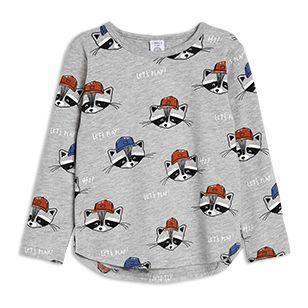 Pitkähihainen+paita,+jossa+pesukarhuja+-+Lindex