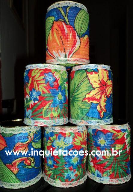 Pap - Latas decoradas com tecido de Chita - Inquietações