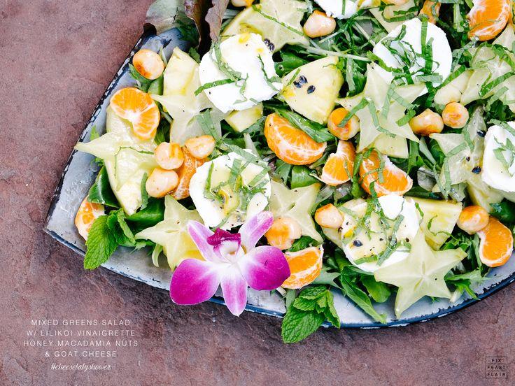 Mixed Greens Salad w/Lilikoi Vinaigrette, Honey Macadamia Nuts, & Goat ...