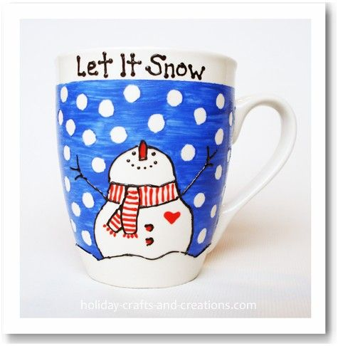 easy homemade painted mug. Step by step instructions with printable template (or draw your own picture.