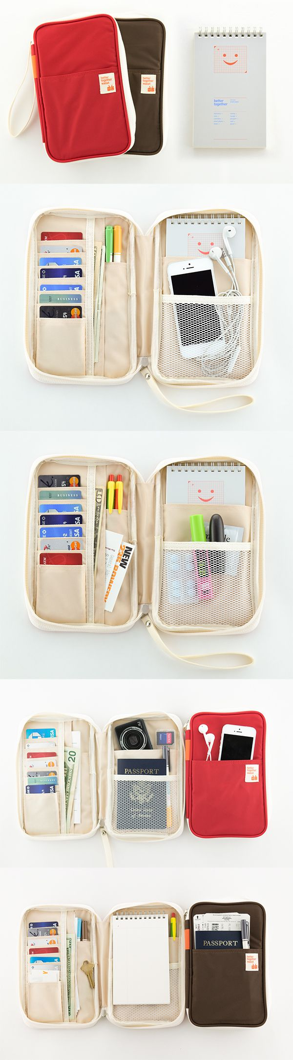 Need this for my next trip! This note pouch has so many compartments… room for up to 20 cards, long pockets for items like cash and receipts, a pouch big enough for a notepad and pen, and additional pockets for items on you want to keep extra secure, like a passport. Additional pockets on both front and back covers allow for easy storage of frequently-used items, like a cellphone.