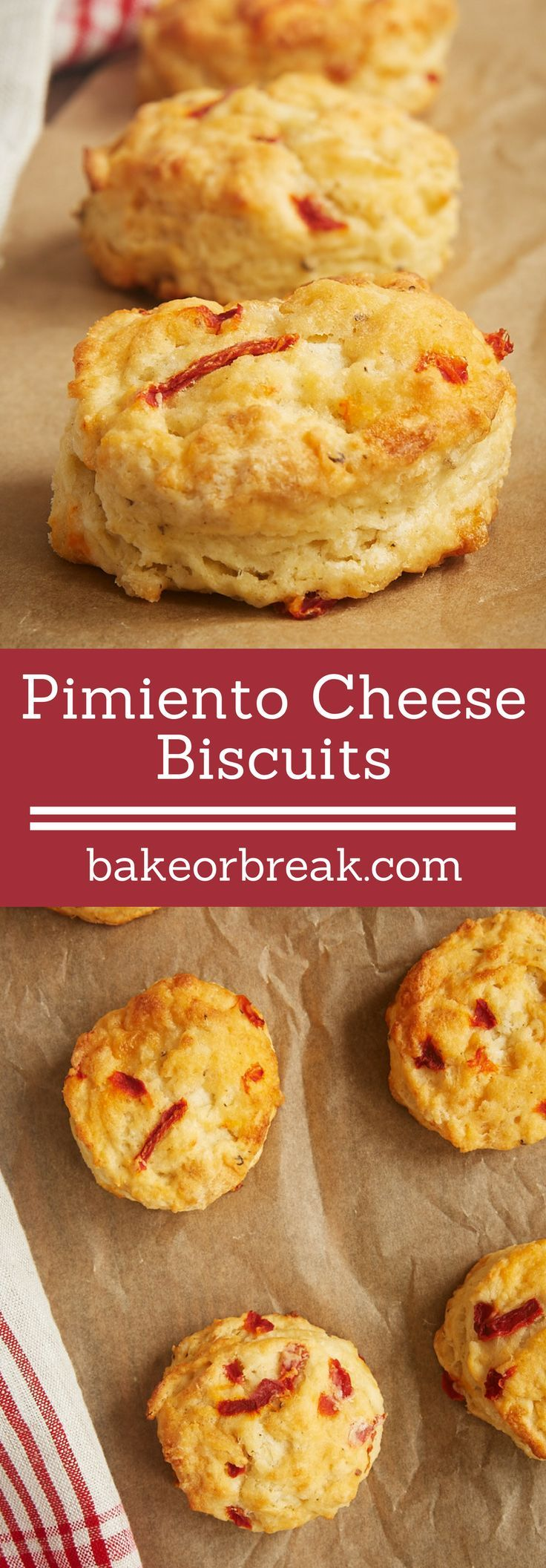 The cheesy, mildly spicy flavor of Pimiento Cheese Biscuits makes them a great companion for so many meals. Love these! - Bake or Break ~ http://www.bakeorbreak.com