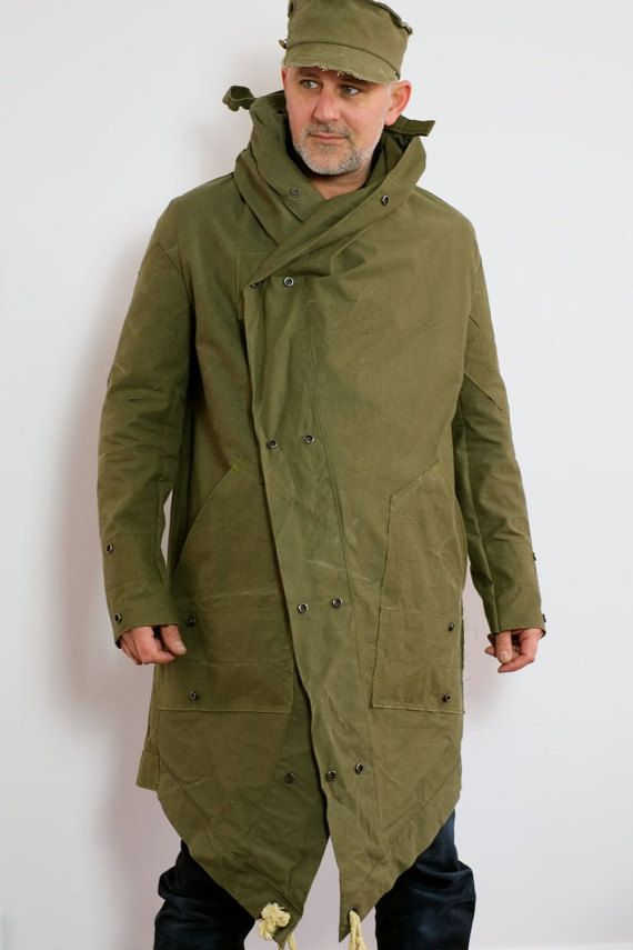Men's Military Style Army Green Weatherproof Coat From Reclaimed Materials US…
