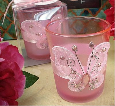 Pink Butterfly Tealight Candle Holders