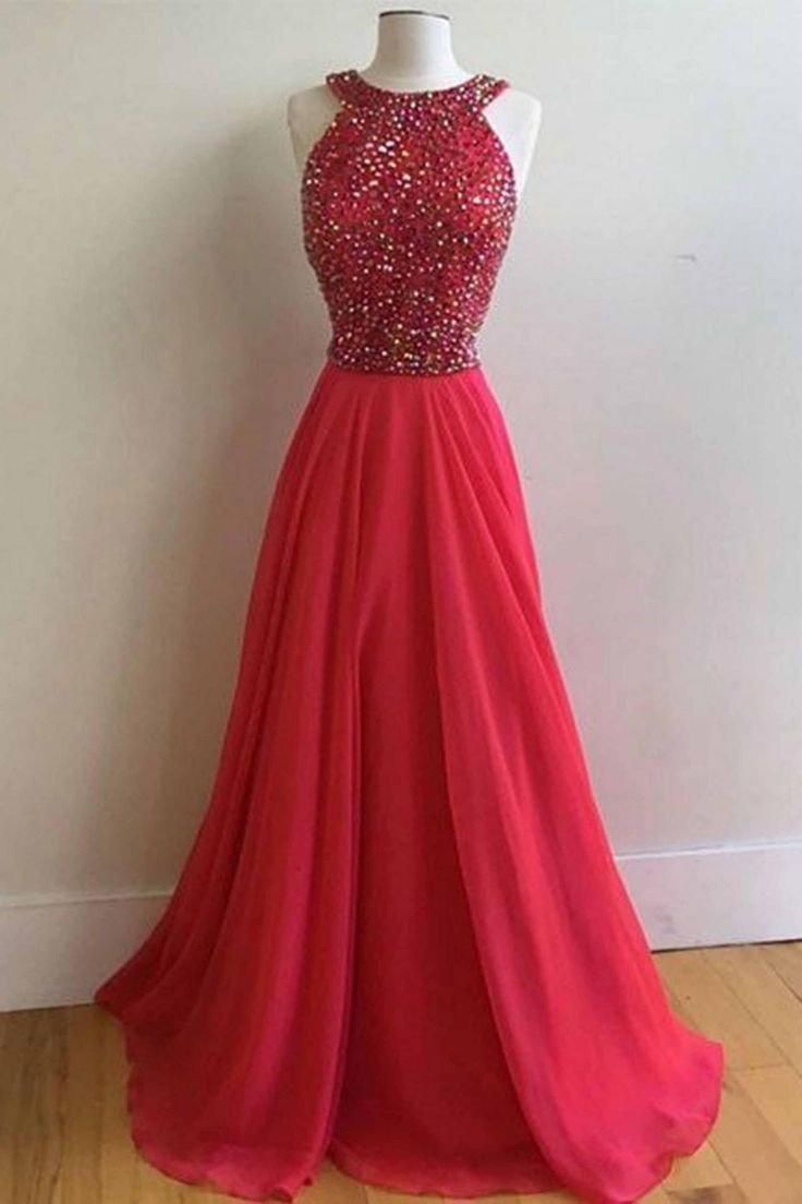 Red chiffon round neck A-line beading prom dresses,long homecoming dress