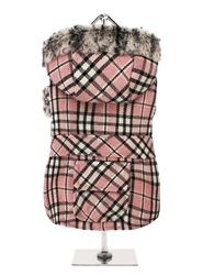 Pink Tartan Coat with Fur Trimmed Hood.. don't normally go for clothes for pets but this is stinkin cute