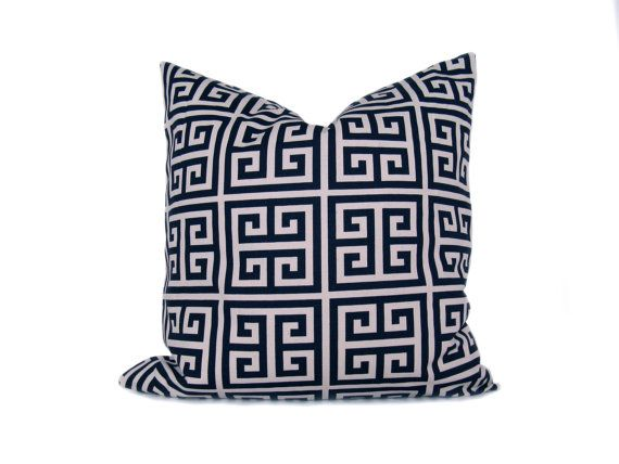 Navy Pillow. 26x26 inch euro pillow. Greek Key Pillow. Decorative Accent Pillow. Navy Blue Pillow Printed Fabric on Front and Back