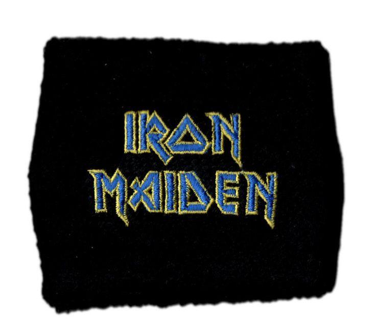 IRON MAIDEN Official Rock Merchandise SweatBand / WristBand -  LOGO BLUE FLIGHT