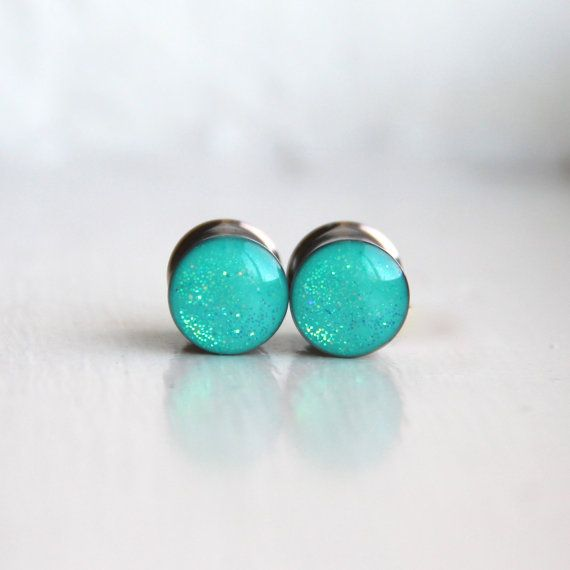 Aqua Plugs, Sparkly Ear Gauge, Seafoam Green, Resin Ear Gauge, Plugs for Girls - sizes 4g, 2g, 0g, 00g, 7/16, 1/2, 9/16, 5/8, 3/4, 7/8, 1""