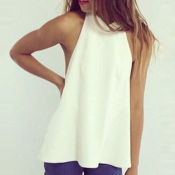New Women Fashion Sleeveless Off Shoulder Sexy Backless Chiffon Casual Top Blouse Shirt