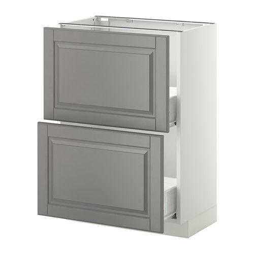 METOD / FÖRVARA Skrinka + 2 zásuvky - biela, Bodbyn šedá, 60x37 cm - IKEA