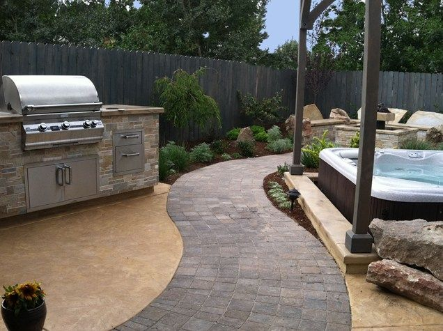 Curved Paver Path, Built In Grill Outdoor Kitchen The Garden Artist, LLC Boise, ID