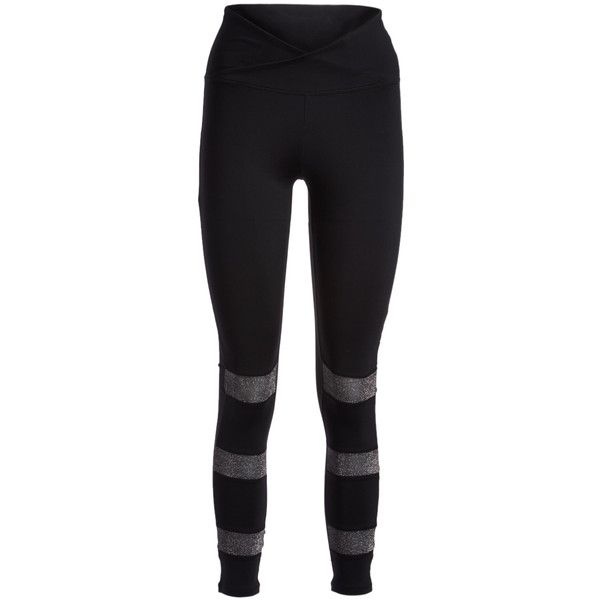 Electric Yoga Black & Silver 3 Way Glitter Leggings ($60) ❤ liked on Polyvore featuring pants, leggings, electric yoga pants, glitter pants, electric yoga, mesh insert leggings and stretchy leggings