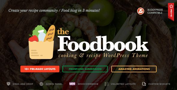 Spring sale!!! -40% off! Foodbook - Recipe Community, Blog, Food & Restaurant Theme #food #blog #theme #design #inspiration