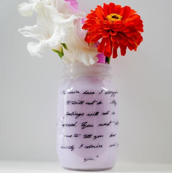 "Jane Austen quote mason Jar art | ""A lady's imagination is very rapid ..."