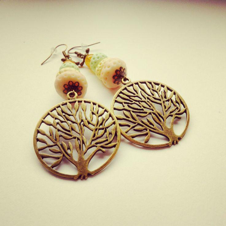tree earrings handmade (fimo) pastels color BY SHARYS