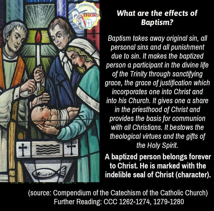 What are the effects of Baptism?  Baptism takes away original sin all personal sins and all punishment due to sin. It makes the baptized person a participant in the divine life of the Trinity through sanctifying grace the grace of justification which incorporates one into Christ and into his Church. It gives one a share in the priesthood of Christ and provides the basis for communion with all Christians. It bestows the theological virtues and the gifts of the Holy Spirit. A baptized person…