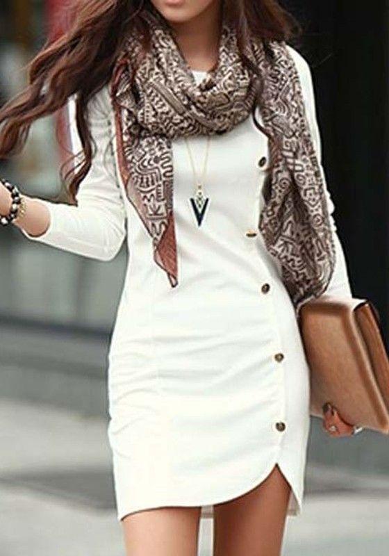 White Plain Button Decorated Sheath Slim Fit Side Round Neck Long Sleeve Trendy Mini Dress - Mini Dresses - Dresses
