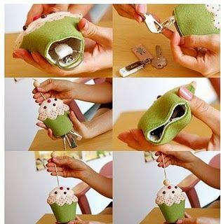 Artes da Lisandra: Semana do Feltro: Cupcake porta-chaves