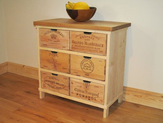 Beautiful handmade chest of drawers made using authentic wine crates from a variety of vineyards in France. The top is solid oak finished with a natural hard wax oil to give durability to the surface. The cabinet sides are made from natural untreated sawn pine. Bring the vineyards into your home with this stunning one off piece.  Height - 73 cm Width - 77.5 cm Depth - 43 cm  See more at our website: www.boisrustique.co.uk  Please note wine crate design may vary from picture