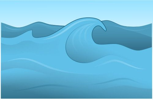 Beautiful cartoon wave made in a vector application.
