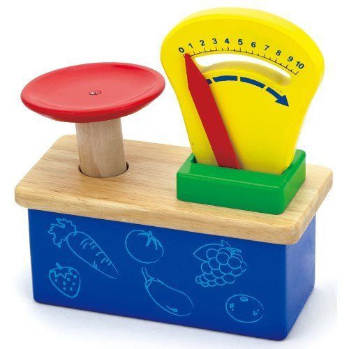 Toddlers Toy Weighing Scale Wooden Balance Kids Learning Play Kitchen Market