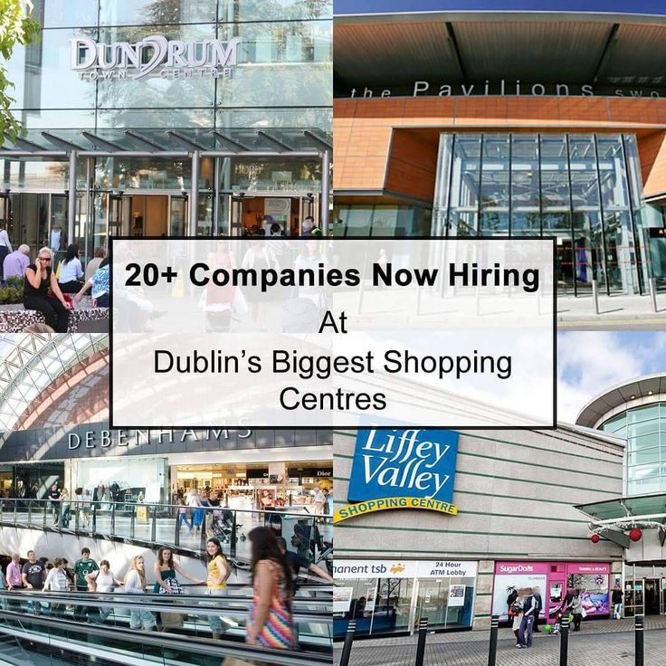 Over 20 Companies are now hiring at the following shopping centres across Dublin and at JobAlert.ie we have all the details:  Millfield Shopping Centre Balbriggan  Swords Pavilions Shopping Centre  Blanchardstown Shopping Centre  Dundrum shopping centre  The Retail Park Liffey Valley Dublin  Multiple Full Time Part Time and Christmas positions now available at the following stores:  River Island  Samsung Ireland  Carphone Warehouse Ireland  SKECHERS  The Perfume Shop  Xti Store  JD Sports…