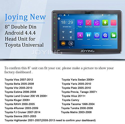 JOYING 8 Inch for Toyota 4runner/Scion/GT86/Highlander/Corolla/Camry/Land Cruiser Android Head Unit Quad Core 1.8GHz 1024×600 Double 2 Din Touch Screen Car Stereo In Dash Radio GPS Navigation