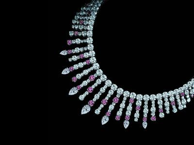 Leviev Fancy Pink and White Diamond Necklace is made white and pink diamonds totaling 97.9 carats