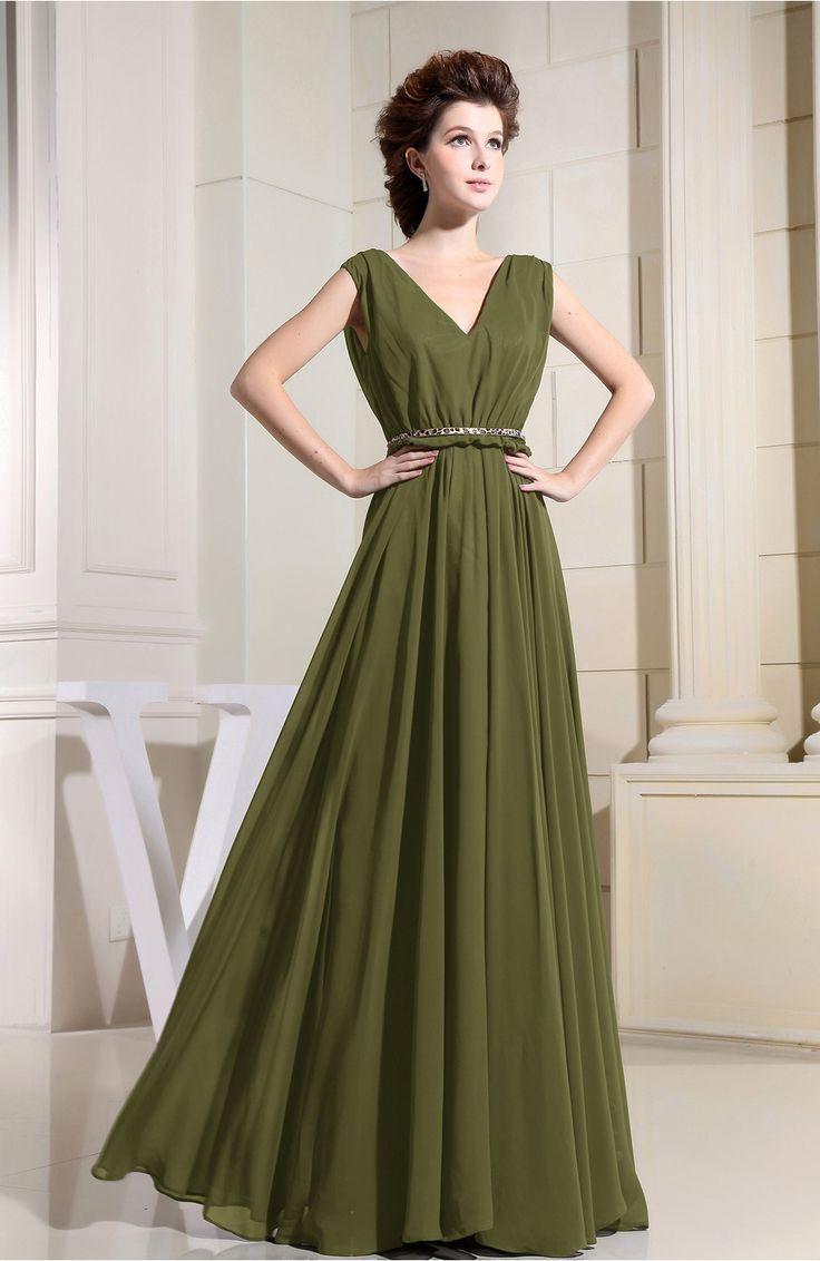 The 25 best olive green bridesmaid dresses ideas on pinterest olive green bridesmaid dress casual v neck sleeveless chiffon pleated ombrellifo Choice Image