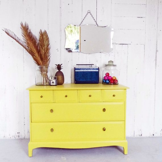 Chest of Drawers/ Retro Sideboard/ Yellow Dresser Vintage