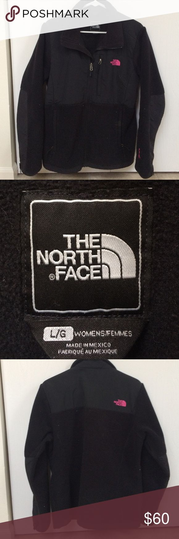 Women's North Face Denali She seems large in good used condition. Perfect for fall and winter. Black with hot pink breast cancer awareness accent. The North Face Jackets & Coats
