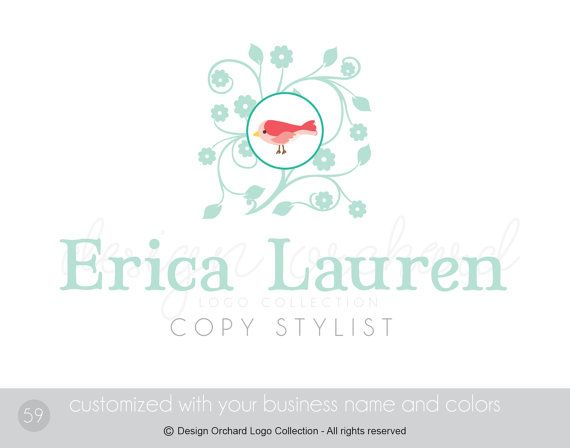Copy Stylist Logo Copywriter Bird Logo by DesignOrchard on Etsy