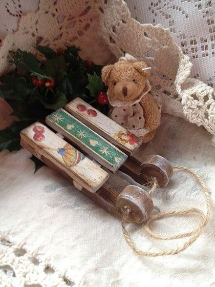 Санки новогодние деревянные - Декупаж,санки,сани,Саночки,елочные игрушки