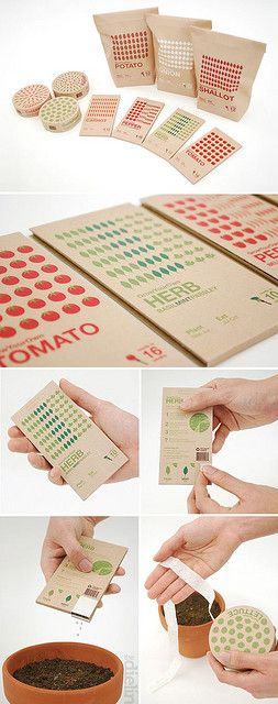 """GrowYourOwn"" seed packaging concept by sAdam Paterson and Santi Tonsukha, students from the Royal College of Art Industrial Design Engineering. The design includes bulb bags, resealable seed packs and seed tape for equally spaced seeds."