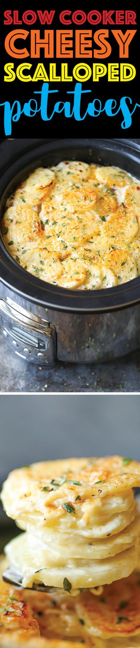 Slow Cooker Cheesy Scalloped Potatoes - This crockpot version of scalloped potatoes is so EASY, creamy, tender and cheesy! And it frees up your oven space!
