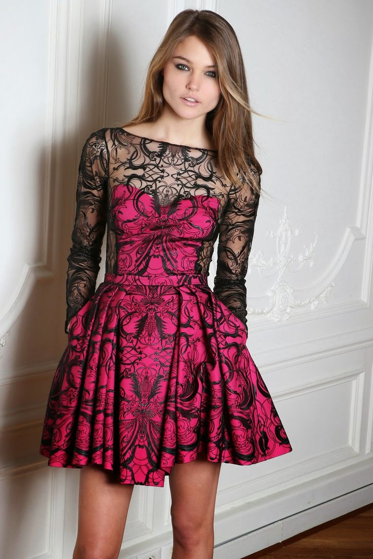 vestidos-de-fiesta-cortos-otoño-invierno-rosa-fucsia