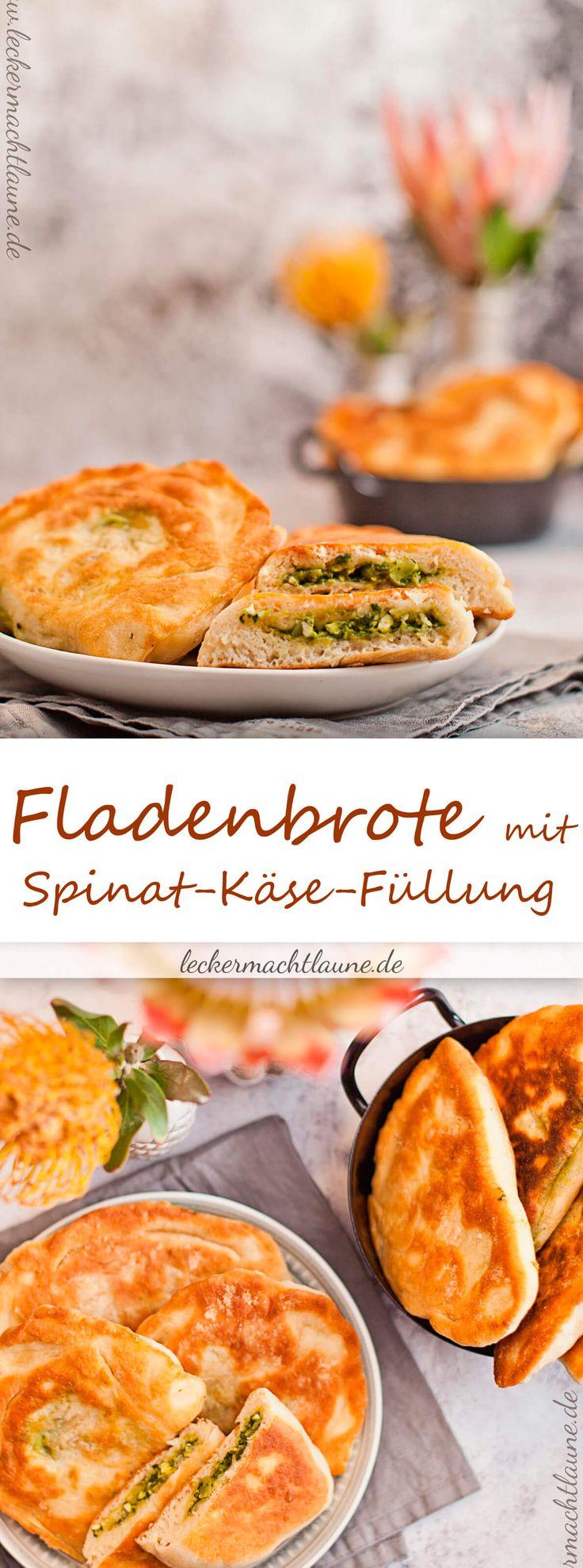 Sehr lecker und einfach gemacht: Fladenbrote mit Spinat-Käse-Füllung! Dazu passt ein schön frischer Salat.