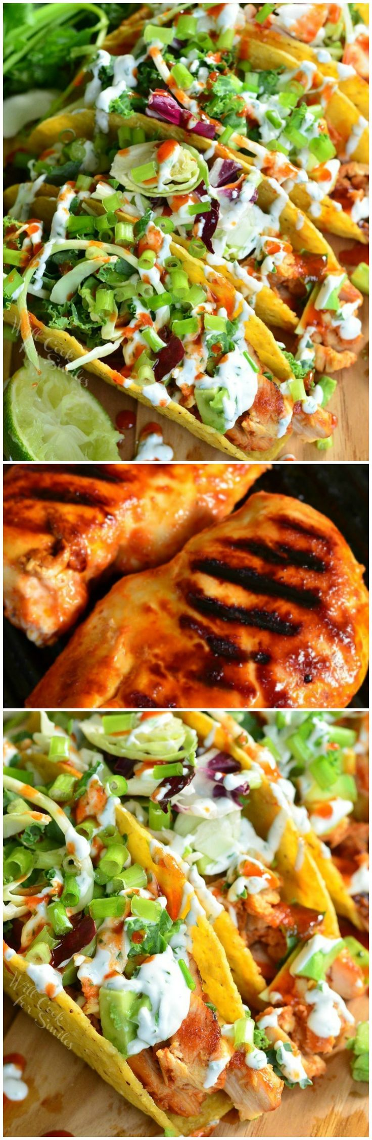 Sriracha Chicken Tacos. These FANTASTIC, sweet and spicy chicken tacos will blog your mind!