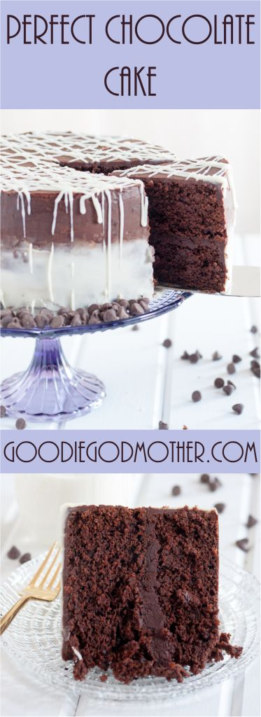 """No boiling water required! This PERFECT chocolate cake recipe is moist, rich, and most importantly... chocolaty! Part of the """"perfect cakes from scratch"""" recipe collection only on GoodieGodmother.com"""