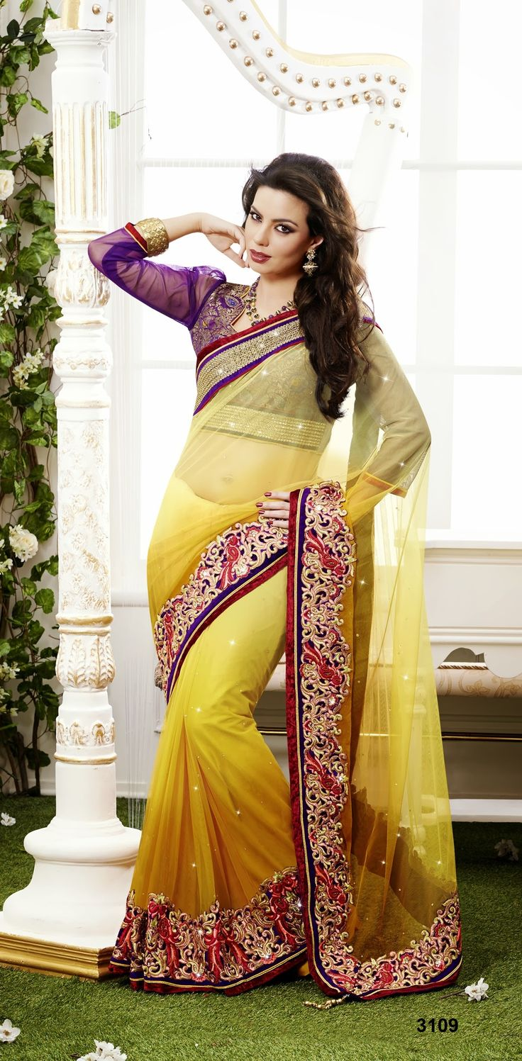Net saree images khazanakart heavy worked saree net saree in shaded mustered color