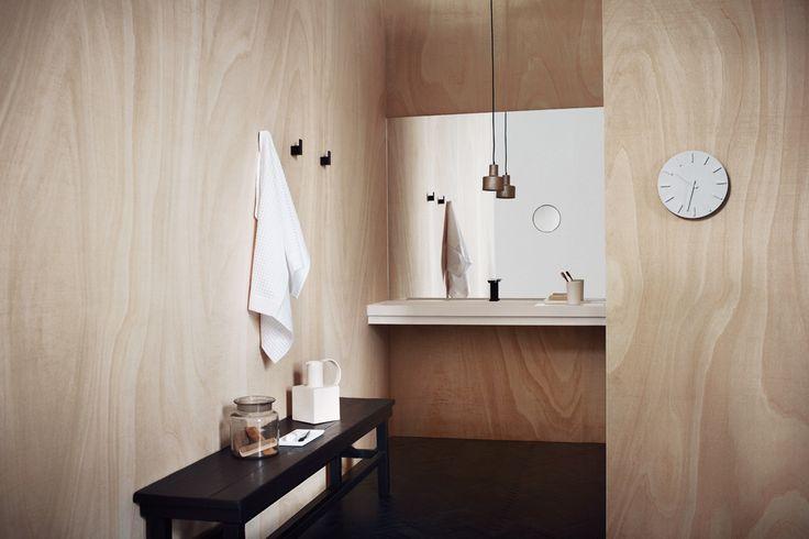 studio pepe + bathroom + plywood + wood + mirror + white +sink + aesop + stendig + plywood bathroom