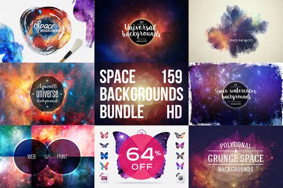 159 Space Backgounds BUNDLE 64% OFF by Creative Stuff on Creative Market