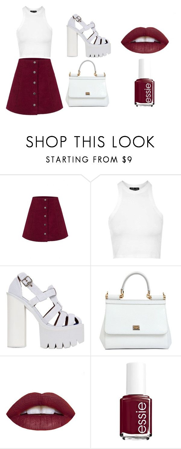 """""""Glamorous"""" by sydneybushh on Polyvore featuring Topshop, Jeffrey Campbell, Dolce&Gabbana, Essie, women's clothing, women, female, woman, misses and juniors"""