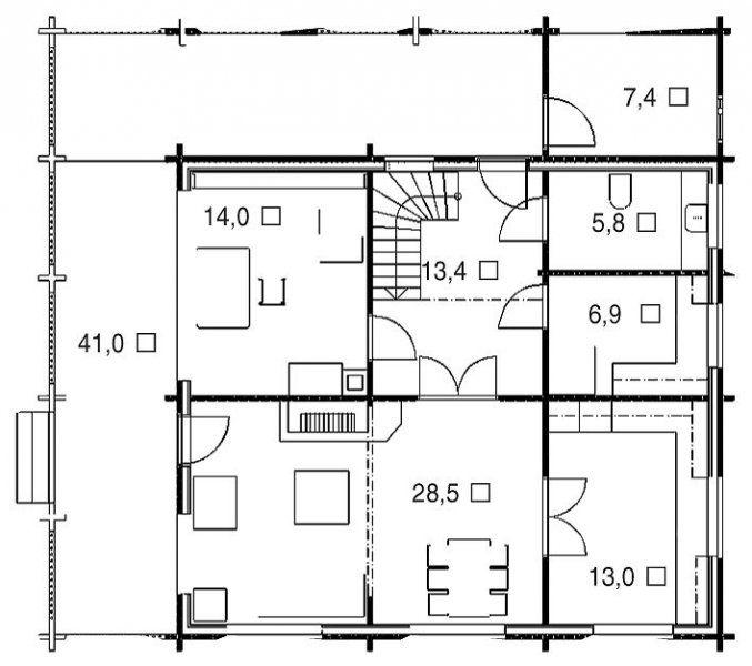 План первого этажа дома из профилированного клееного бруса из кедра и лиственницы