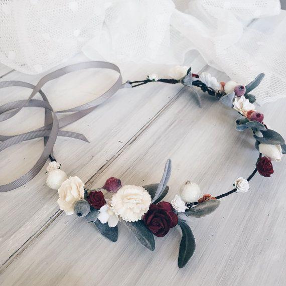Winter Bridal crown Winter wedding crown Bridal flower by SERENlTY