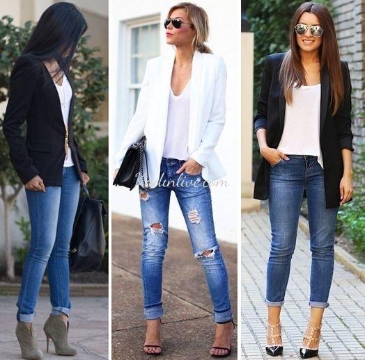Blazer-Ceket-Jean-ve-Beyaz-Tişört-Kombinleri – Moda Sitesi